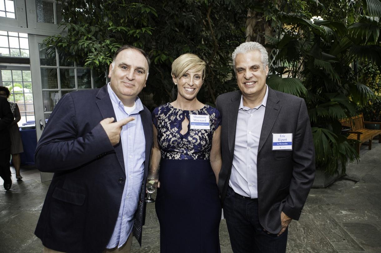 Chef José Andrés, CHC Executive Director Shannon Maynard, Chef Eric Ripert