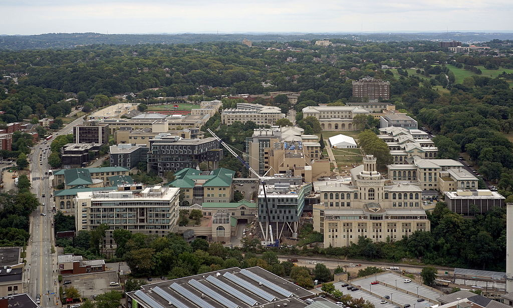 Aerial View of Carnegie Mellon University, Pittsburgh Pa. Photo: Dllu