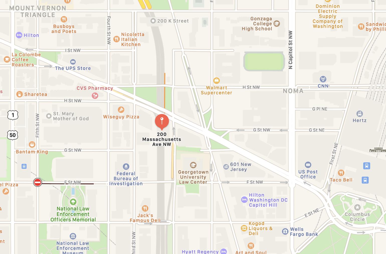 Street map indicating 200 Massachusetts Ave NW, Washington, D.C.